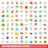 100 motherhood icons set, cartoon style. 100 motherhood icons set in cartoon style for any design vector illustration Stock Photos