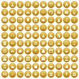 100 motherhood icons set gold. 100 motherhood icons set in gold circle isolated on white vector illustration stock illustration