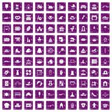 100 motherhood icons set grunge purple. 100 motherhood icons set in grunge style purple color isolated on white background vector illustration vector illustration