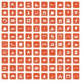 100 motherhood icons set grunge orange. 100 motherhood icons set in grunge style orange color isolated on white background vector illustration royalty free illustration