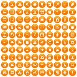 100 motherhood icons set orange. 100 motherhood icons set in orange circle isolated on white vector illustration royalty free illustration