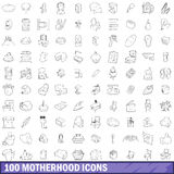 100 motherhood icons set, outline style Royalty Free Stock Images