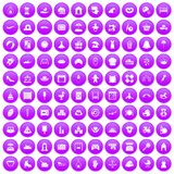100 motherhood icons set purple. 100 motherhood icons set in purple circle isolated on white vector illustration Royalty Free Stock Photos