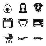 Motherhood icons set, simple style. Motherhood icons set. Simple set of 9 motherhood vector icons for web isolated on white background Royalty Free Stock Photos
