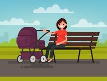 motherhood Jonge moederzitting op een bank met een kinderwagen in p vector illustratie