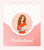 Motherhood and love conception. Young beautiful mother holding sleeping baby -  card. Royalty Free Stock Image