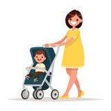 motherhood Mãe nova feliz com o bebê no pram Vetor Fotos de Stock Royalty Free