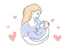 motherhood Moederliefde en kind E stock illustratie