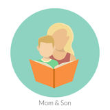 Motherhood. Mom with son are reading a book. Flat modern illustration Stock Photo