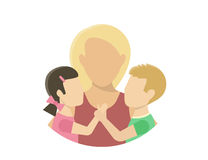Motherhood. Mom with two kids. Flat illustration on white Stock Images