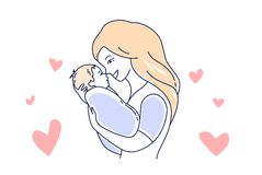 Free Motherhood. Mother Love And Child. Mom Looking At The Baby Hand Drawn Style Vector Illustration Stock Image - 144809721