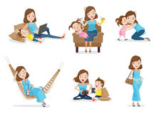 Motherhood. Mother and son or daughter Have fun together with mother, Woman gave birth and pregnancy. Concept of motherhood Vector illustrations Stock Photo