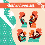 Motherhood set. Silhouettes of mother and baby Royalty Free Stock Images