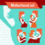 Motherhood set. Silhouettes of mother and baby Stock Photo