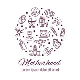 Motherhood thin line icons round concept. Motherhood thin line icons round shape form concept. Vector illustration Stock Photo