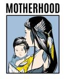 motherhood Vectoraffiche met hand getrokken illustratie van moeder met kind vector illustratie