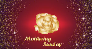 Mothering Sunday celebration concept with Golden Rose and Lettering Typography on a Red Background. Vector illustration Royalty Free Stock Photos