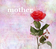 Mothering Sunday Poster. One upstanding single rose on the right hand side with the word 'mother' parallel to the rose head and a relevant word cloud below on a stock images