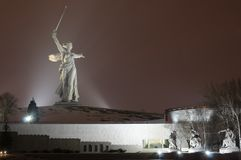 The Motherland Calls on Mamayev Kurgan formed the largest free-standing sculpture in the world. Volgograd, Russia - 22 Feb 2018 18:55. On Mamaev Kurgan the night Stock Images