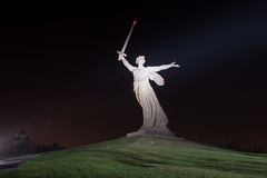 Motherland Calls in Mamayev Kurgan. The monument of Motherland Calls in Mamayev Kurgan memorial complex at night in Volgograd (former Stalingrad), Russia stock photography