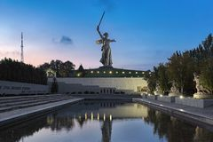 The Motherland Calls statue in Volgograd, Russia. Volgograd, Russia. The Motherland Calls statue on the top of Mamayev Kurgan with memorial complex commemorating royalty free stock photography