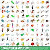 100 motherland icons set, isometric 3d style. 100 motherland icons set in isometric 3d style for any design vector illustration Stock Images