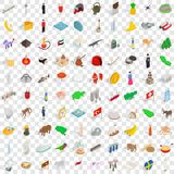 100 motherland icons set, isometric 3d style Royalty Free Stock Photo
