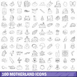 100 motherland icons set, outline style. 100 motherland icons set in outline style for any design vector illustration Royalty Free Illustration