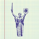 Motherland Monument, UKRAINE. The Motherland Monument, Rodina-Mat KIEV, UKRAINE. Vector Illustration, hand drawn, ball pen drawing Royalty Free Stock Image