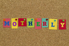 Motherly word written on colorful sticky notes. Stock Images