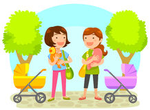 Mothers with babies stock illustration