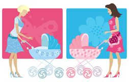 Mothers with baby prams Stock Images
