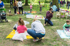 Mothers and children. At a park in Poznan, Poland Stock Images