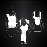 Mothers with children in a sling on black. Vector illustration of mothers with children in a sling on black background. Template poster, badge Royalty Free Stock Images