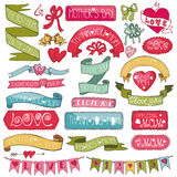 Mothers colored decor set.Hand drawing Ribbons Stock Image