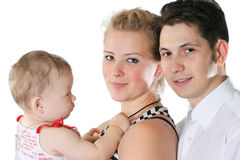 Mothers daughter and father. Mother, the father and their small baby Stock Image