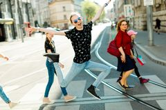 Mothers with daughters walking the downtown royalty free stock photos