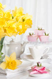 Mothers Day. Tea party with cupcakes Royalty Free Stock Images