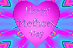 Mothers day. Happy mothers day card with pink hearts isolated stock photo