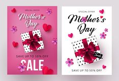 Mothers Day sale banners and flyers design set with beautiful gift box, paper hearts and flowers royalty free illustration