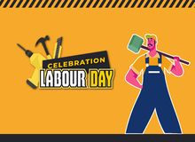 Happy Labour Day Celebration. Happy Labour Day Postcard or Poster or Flyer Template. Happy Labour Day Design, Vector Illustration. Labour Day Celebration. Happy stock illustration