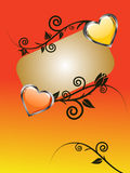 Mothers day. Illustration of colorful hearts and a banner on a floral background Royalty Free Stock Image