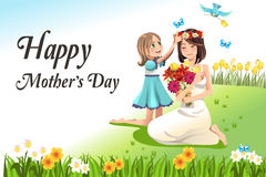 Mothers day. A vector illustration of happy mothers day card stock illustration