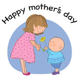 Mothers Day. Hand drawn picture of child giving flowers to mom on mothers day. Illustrated in a loose style. Vector eps available stock illustration
