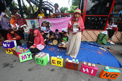 Mothers Day. A number of children reciting poems on Mothers Day in Central Java, Indonesia Royalty Free Stock Photo