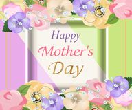 Mothers day background with beautiful flowers  greeting card. Design for posters, banners or cards. Vector Stock Photography