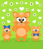 Mothers day background with cats Stock Images