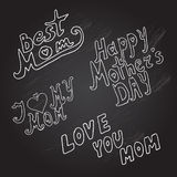 Mothers day background. Mothers day chalkboard background with different doodle messages, design element Stock Photo