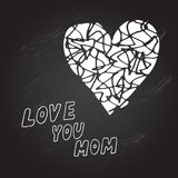 Mothers day background. Mothers day chalkboard background with Love You Mom words and abstract heart, design element Stock Photos