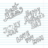 Mothers day background. With different doodle messages, design element Stock Photography